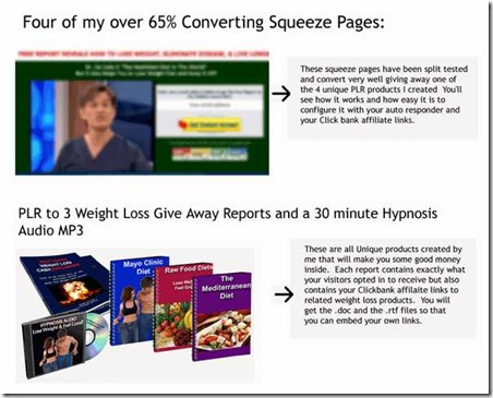 Four of my over 65% Converting Squeeze Pages and PLR to 3 Weight Loss Give Away Reports and a 30 minute Hypnosis Audio MP3
